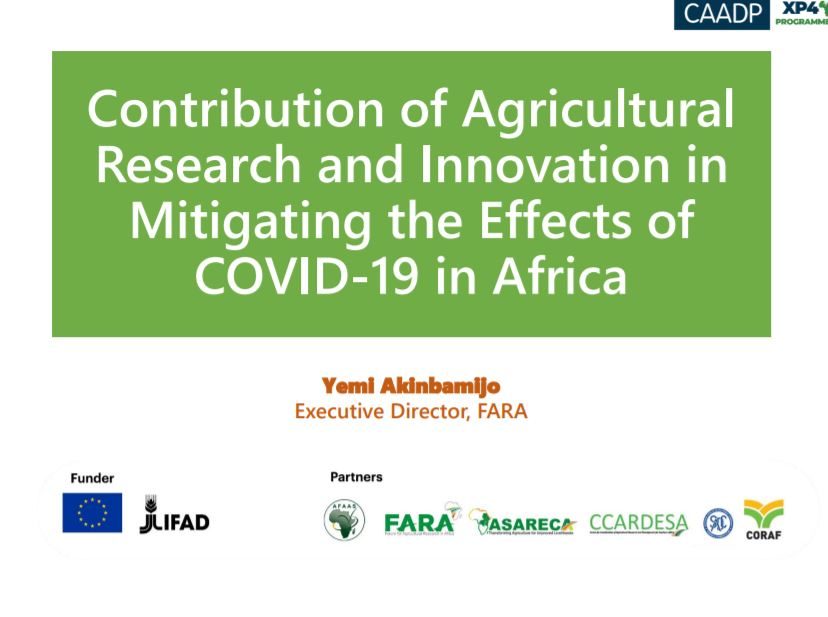 Contribution of Agricultural Research and Innovation in Mitigating the Effects of COVID-19 in Africa