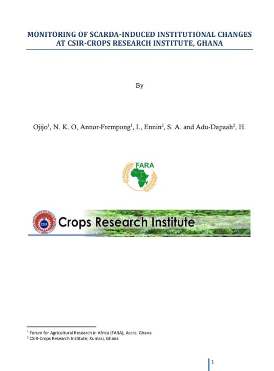 MONITORING OF SCARDA-INDUCED INSTITUTIONAL CHANGES AT CSIR-CROPS RESEARCH INSTITUTE, GHANA